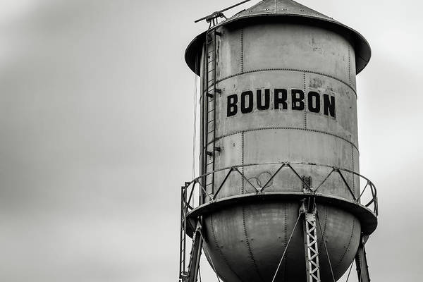 Photograph - Monochrome Bourbon Whiskey Water Tower Barrel by Gregory Ballos