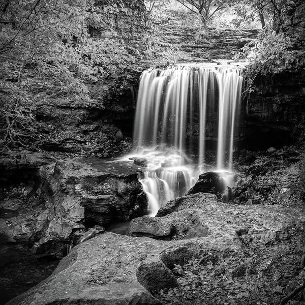 Wall Art - Photograph - Monochrome Falls Of Tanyard Creek - Bella Vista Arkansas by Gregory Ballos