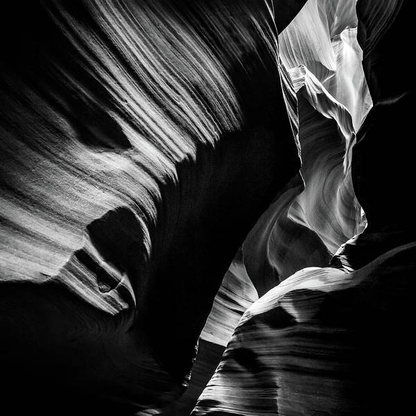 Photograph - Monochrome Light And Shadows Of Arizona's Antelope Canyon - Square Format by Gregory Ballos