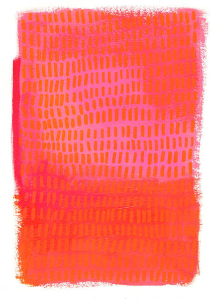 Monochrome Painting - Monochrome Orange Pink by Jane Davies