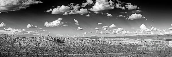 Wall Art - Photograph - Monochrome Panorama Of Anderson Overlook At Los Alamos - New Mexico Land Of Enchantment by Silvio Ligutti