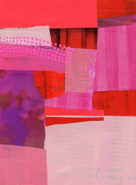 Acrylic Collage Painting - Monochrome Pink #2 by Jane Davies