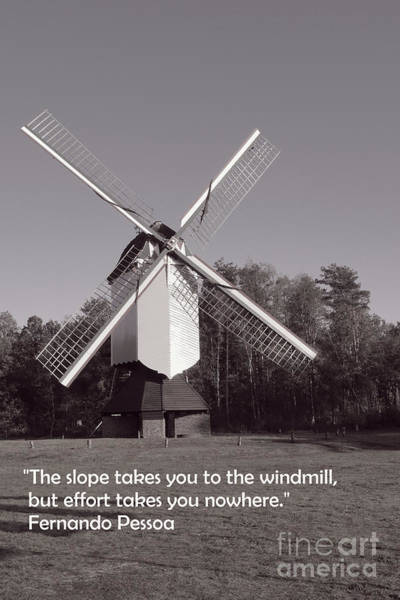 Photograph - Monochrome Windmill And Inspirational Quote by Aapshop