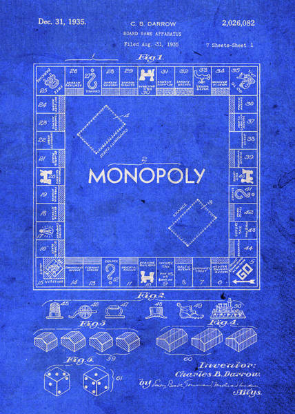 Patent Mixed Media - Monopoly Game Patent by Design Turnpike