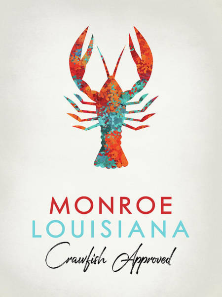 Louisiana Digital Art - Monroe Louisiana Crawfish Bright by Flo Karp