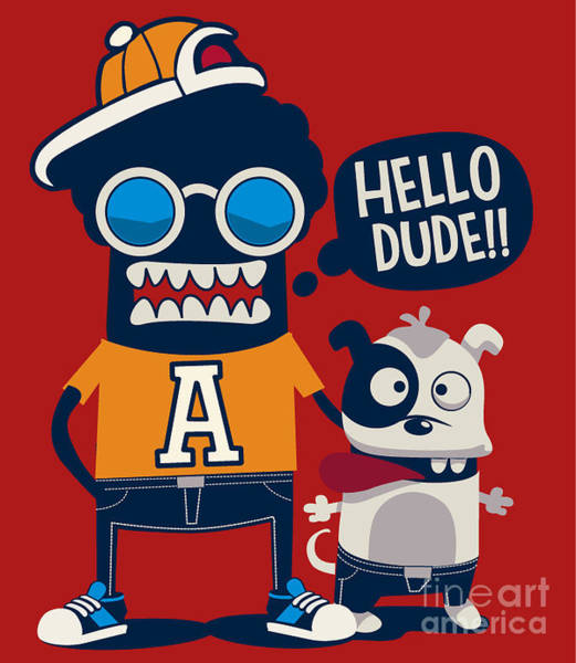 Wall Art - Digital Art - Monster, Dog, Friends, Cool, Cute by Braingraph