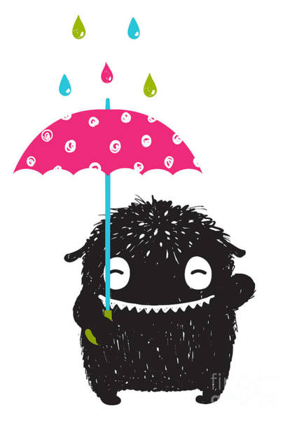 Quirky Wall Art - Digital Art - Monster For Kids With Umbrella Under by Popmarleo