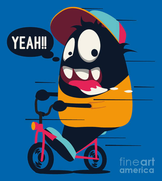 Dancing Wall Art - Digital Art - Monster On The Bicycle by Braingraph