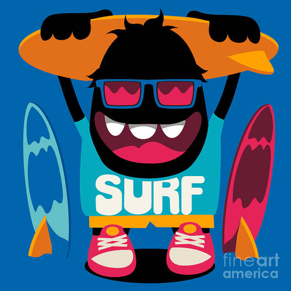 Wall Art - Digital Art - Monster Surfer Vector Character Design by Braingraph