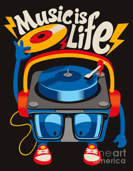 Wall Art - Digital Art - Monster Turntable Vector Design by Braingraph