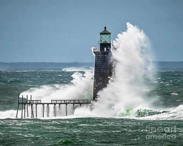 Wall Art - Photograph - Monster Wave At Ram Island Ledge Lighthouse by Benjamin Williamson