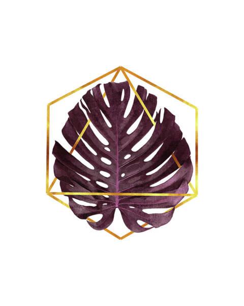 Tropical Trees Mixed Media - Monstera Leaf Pattern 2 - Tropical Leaf Pattern - Purple - Gold Geometric Shape - Modern, Minimal by Studio Grafiikka