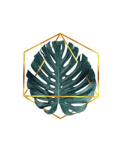 Tropical Trees Mixed Media - Monstera Leaf Pattern 3 - Tropical Leaf Pattern - Blue, Navy- Gold Geometric Shape - Modern, Minimal by Studio Grafiikka
