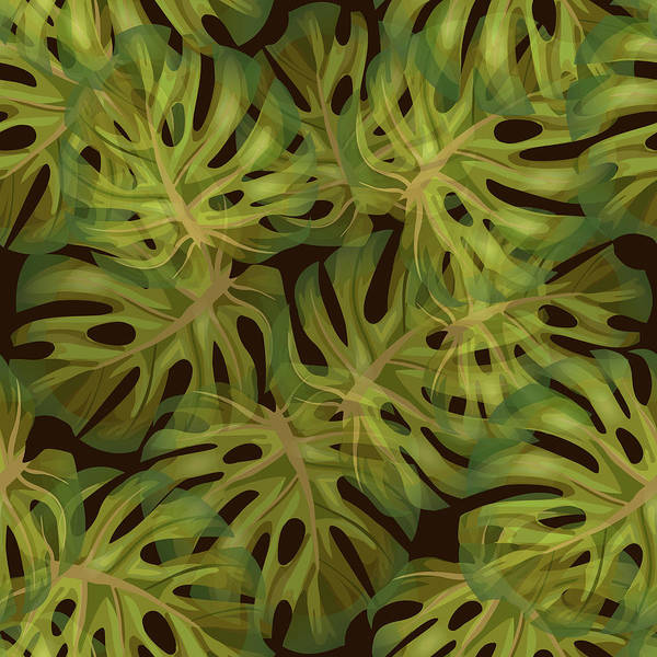 Fauna Mixed Media - Monstera Leaf Pattern 3 - Tropical Leaf Pattern - Dark Green - Tropical, Botanical Pattern Design by Studio Grafiikka