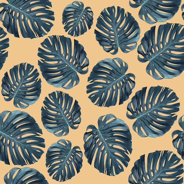 Fauna Mixed Media - Monstera Leaf Pattern - Tropical Leaf Pattern - Blue, Peach - Tropical, Botanical - Modern, Minimal by Studio Grafiikka