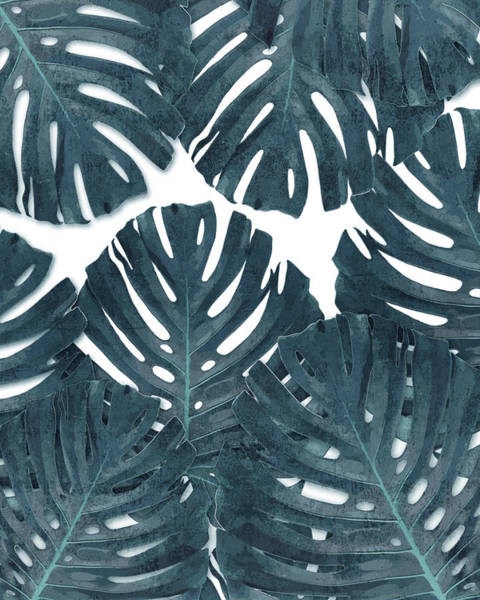 Fauna Mixed Media - Monstera Leaf Pattern - Tropical Leaf Pattern - Blue - Tropical, Botanical - Modern, Minimal Decor by Studio Grafiikka