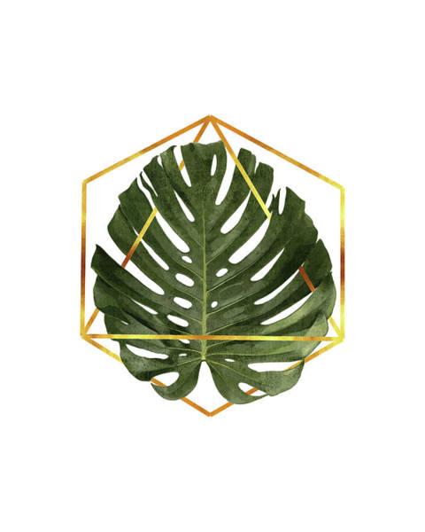 Tropical Trees Mixed Media - Monstera Leaf Pattern - Tropical Leaf Pattern - Green - Gold Geometric Shape - Modern, Minimal by Studio Grafiikka