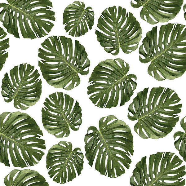 Fauna Mixed Media - Monstera Leaf Pattern - Tropical Leaf Pattern - Green - Tropical, Botanical - Modern, Minimal - 1 by Studio Grafiikka