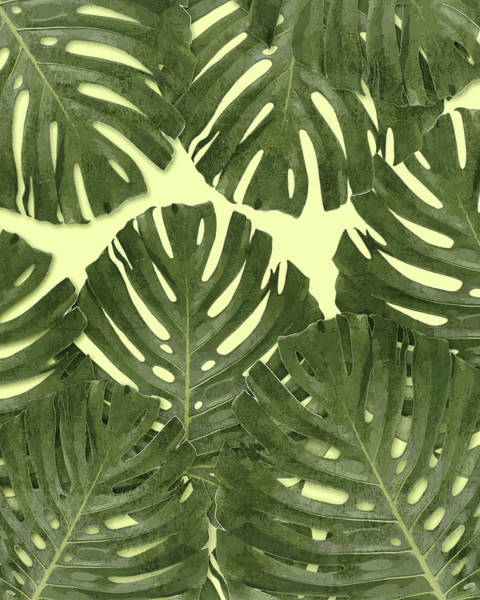 Fauna Mixed Media - Monstera Leaf Pattern - Tropical Leaf Pattern - Green - Tropical, Botanical - Modern, Minimal Decor by Studio Grafiikka