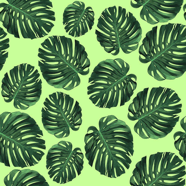 Olives Mixed Media - Monstera Leaf Pattern - Tropical Leaf Pattern - Green - Tropical, Botanical - Modern, Minimal Design by Studio Grafiikka