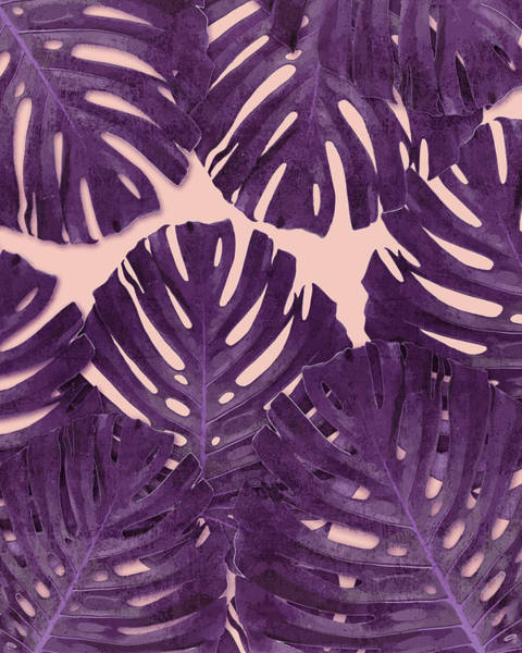 Fauna Mixed Media - Monstera Leaf Pattern - Tropical Leaf Pattern - Purple - Tropical, Botanical - Modern, Minimal Decor by Studio Grafiikka
