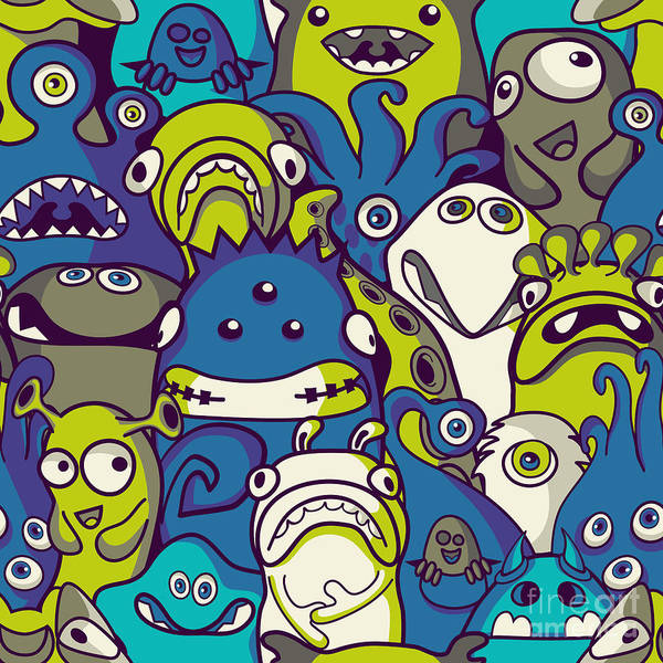 Dark Blue Digital Art - Monsters And Aliens- Seamless Background by Trendywest