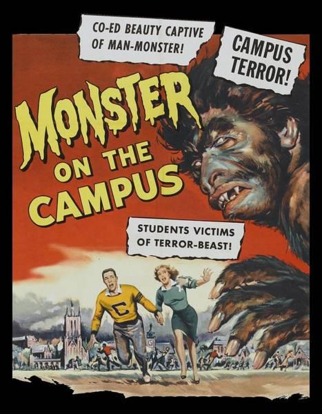 Lagoon Digital Art - Monster On The Campus Vintage Movie Poster by Filip Hellman