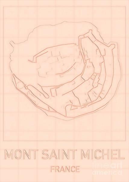 Digital Art - Mont Saint Michel Blueprint Map by Helge