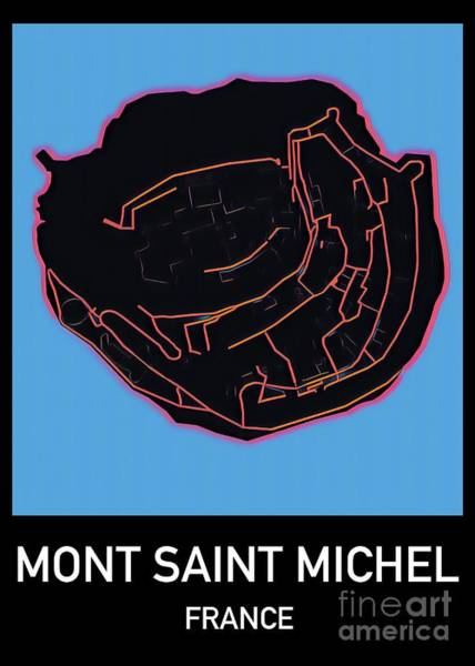 Digital Art - Mont Saint Michel Map by Helge