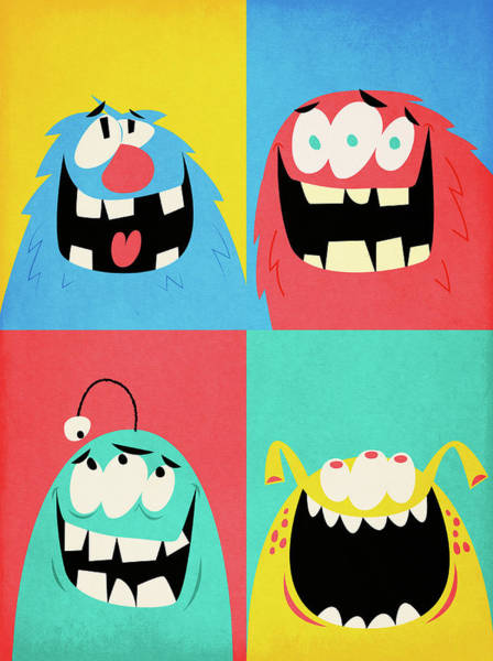 Toothy Smile Digital Art - Montage Of Four Happy Monsters by Gustav Dejert