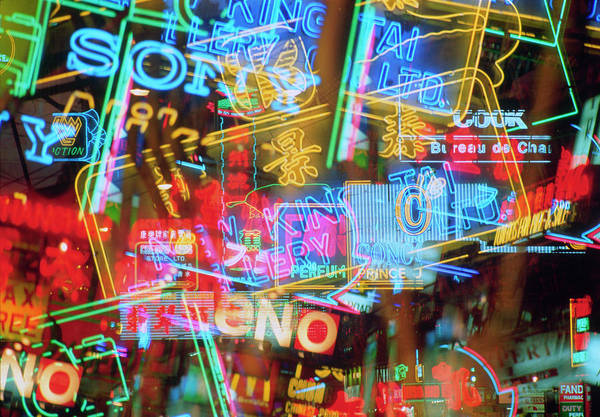 Photograph - Montage Of Neon Signs At Night by Ian Lawrence