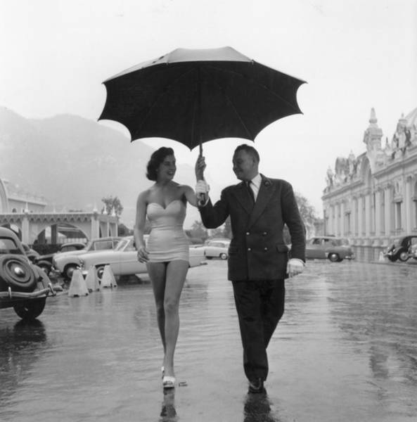 Fashion Model Photograph - Monte Carlo Rain by Bert Hardy