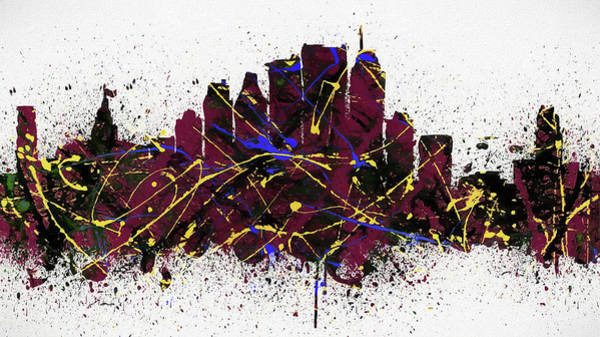 Painting - Monteal Colorful Skyline Splatter by Dan Sproul