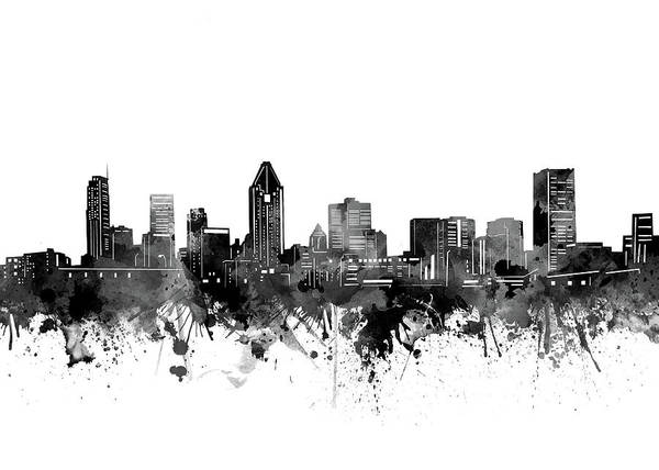 Wall Art - Digital Art - Monteral Skyline Bw by Bekim M