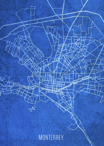 Wall Art - Mixed Media - Monterrey Mexico City Street Map Blueprints by Design Turnpike