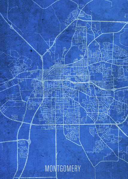 Wall Art - Mixed Media - Montgomery Alabama City Street Map Blueprints by Design Turnpike