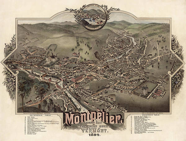 Wall Art - Painting - Montpelier, County Seat Of Washington County, Capital Of Vermont, 1884 by Geo Norris