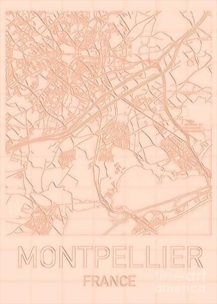 Digital Art - Montpellier Blueprint City Map by Helge