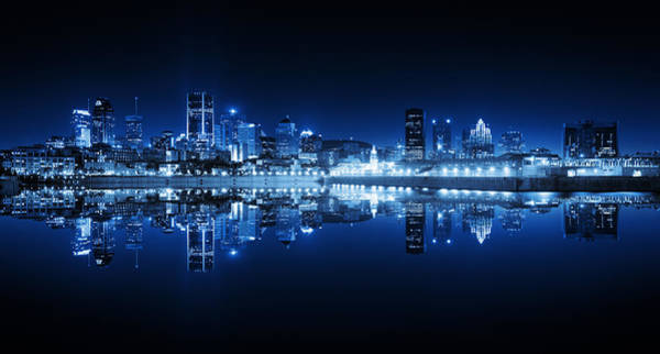 Quebec City Photograph - Montreal Cityscape Reflection At Night by Buzbuzzer