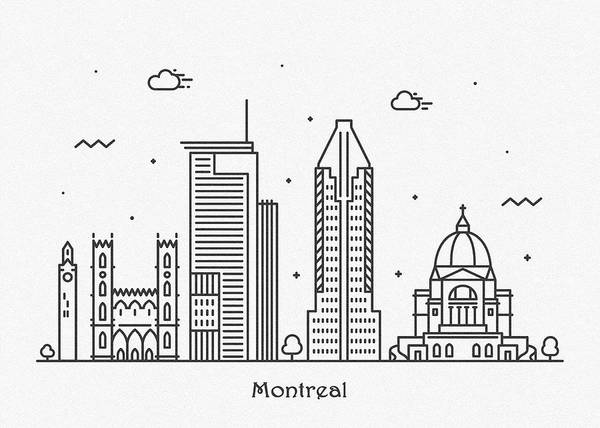 Quebec City Drawing - Montreal Cityscape Travel Poster by Inspirowl Design