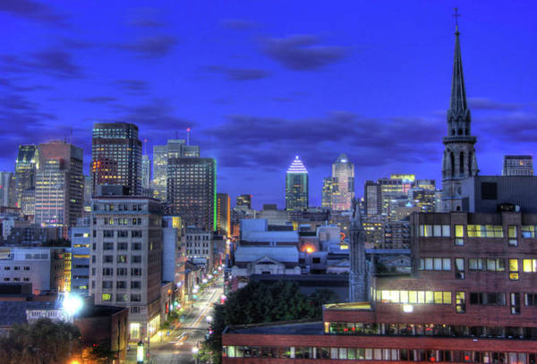 Quebec City Photograph - Montreal Downtown At Dawn by Jean Surprenant