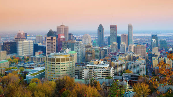Quebec City Photograph - Montreal. Downtown From Mount Royal Park by Alan Copson