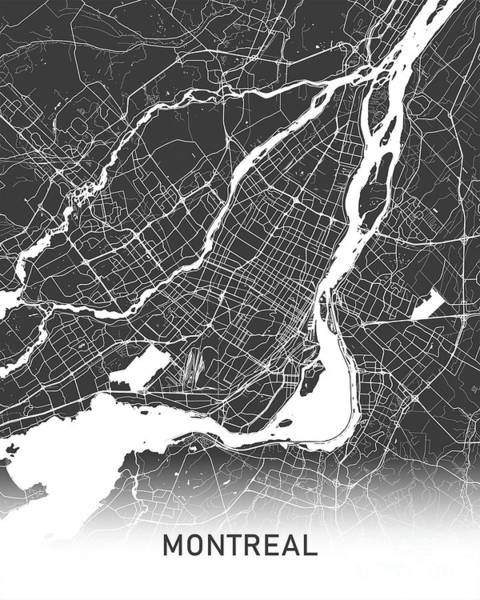 Wall Art - Photograph - Montreal Map Black And White by Delphimages Photo Creations