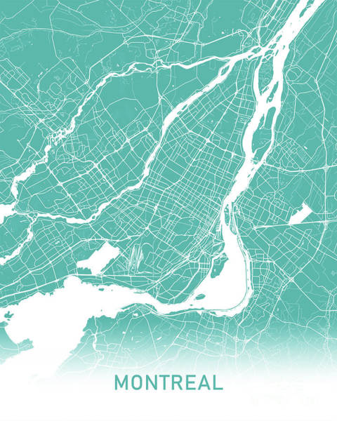 Montreal Wall Art -  - Montreal Map Teal by Delphimages Photo Creations