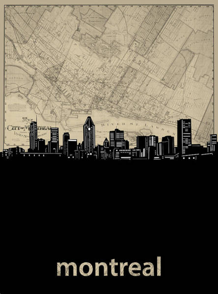 Wall Art - Digital Art - Montreal Skyline Map by Bekim M
