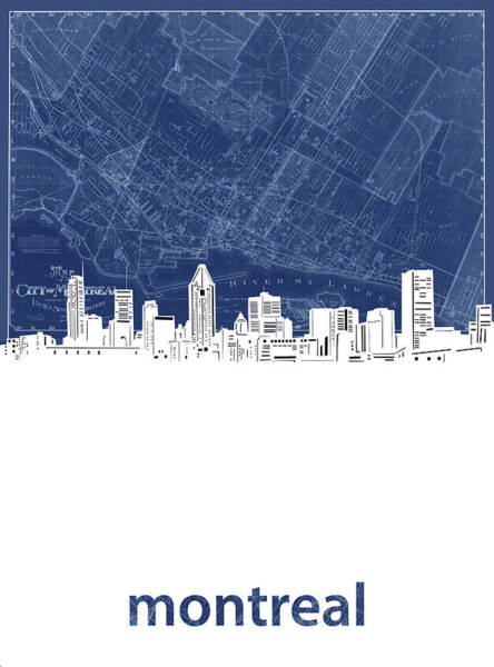 Wall Art - Digital Art - Montreal Skyline Map Blue by Bekim M