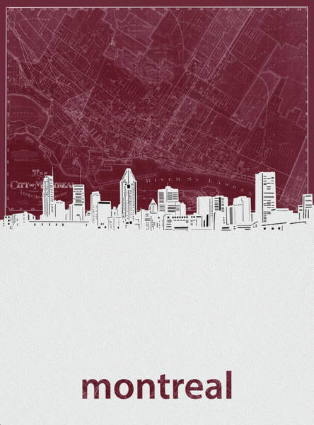 Wall Art - Digital Art - Montreal Skyline Map Red by Bekim M