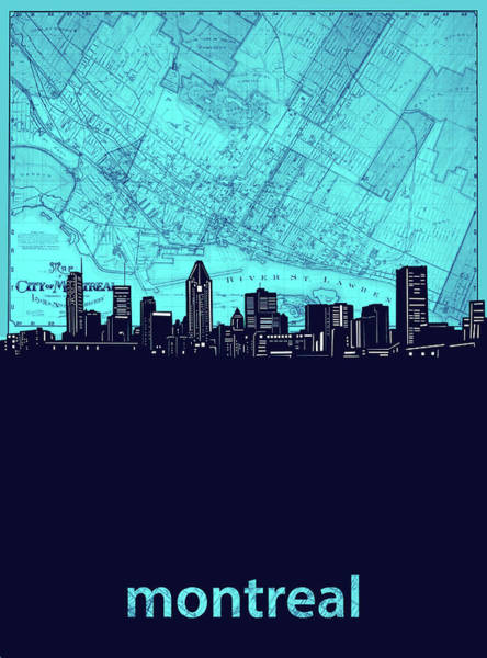 Wall Art - Digital Art - Montreal Skyline Map Turquoise by Bekim M