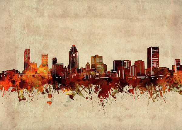 Wall Art - Digital Art - Montreal Skyline Sepia by Bekim M
