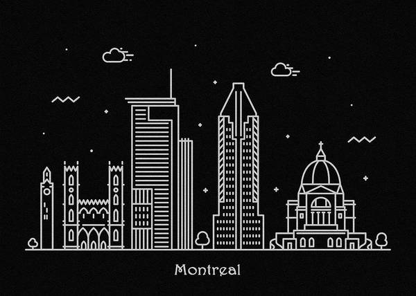 Montreal Digital Art - Montreal Skyline Travel Poster by Inspirowl Design